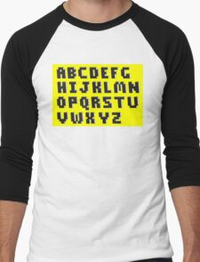 Brick Font Alphabet Men's Baseball ¾ T-Shirt