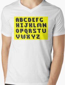 Brick Font Alphabet Mens V-Neck T-Shirt