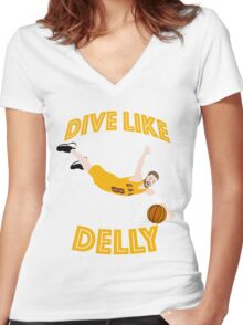 Dive Like Delly Women's Fitted V-Neck T-Shirt