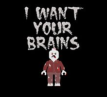 I WANT YOUR BRAINS ZOMBIE MINIFIG by Customize My Minifig
