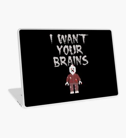 I WANT YOUR BRAINS ZOMBIE MINIFIG Laptop Skin