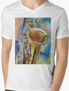 Saxophone Mens V-Neck T-Shirt