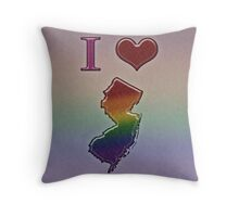 I Heart New Jersey Rainbow Map - LGBT Equality Throw Pillow