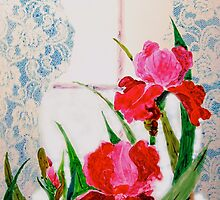 Pink Iris and Lace by henrytheartist