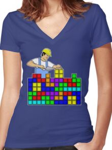 Brick Layer Women's Fitted V-Neck T-Shirt