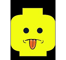 Rude Minifig Face Sticking Tongue Out  Photographic Print