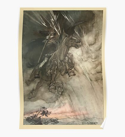 The Rhinegold & The Valkyrie by Richard Wagner art Arthur Rackham 1910 0012 Raging Wotan Poster