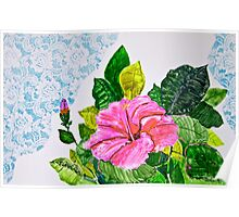 Hibiscus and Lace Poster