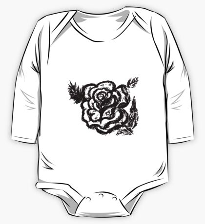 Rose Sketch  One Piece - Long Sleeve