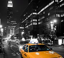 NYC - Yellow Cab & The Empire State Building by Spoungeworthy