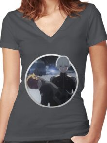 Kaneki and Hide Women's Fitted V-Neck T-Shirt