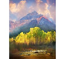 at the foot of the mountains a tranquil stream Photographic Print