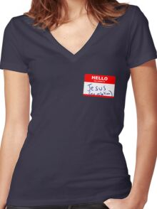Hi, my name is Jesus Women's Fitted V-Neck T-Shirt
