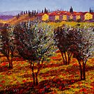 Tuscany Village Above the Olive Grove by sesillie