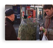 Dan paying for a christmas tree. Canvas Print