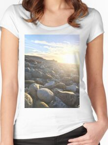 Sunset on rocky beach Women's Fitted Scoop T-Shirt
