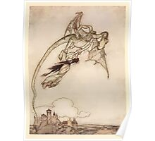 Snowdrop & Other Tales by Jacob Grimm art Arthur Rackham 1920 0105 The King's Only Daughter Carried off By a Dragon Poster