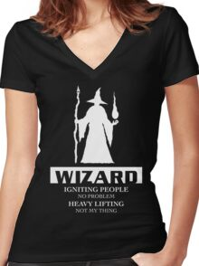 Wizard Inverted Women's Fitted V-Neck T-Shirt