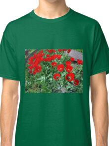 Flowerbed with red tulips Classic T-Shirt