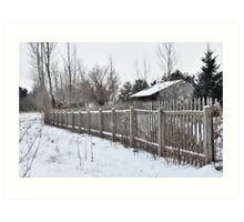 Wooden Picket Fence and Barn Art Print
