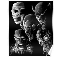 Monsters - Vampire, Werewolf, Zombie, Mummy and Frankenstein Poster