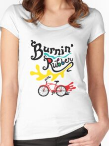 Burnin' Rubber  Women's Fitted Scoop T-Shirt
