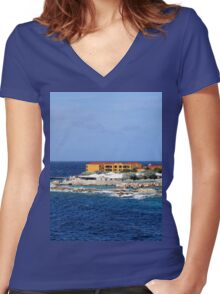 a desolate Curacao landscape Women's Fitted V-Neck T-Shirt