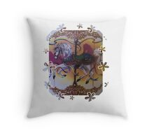 Horse and Carousel Flowers Throw Pillow