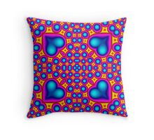 Colorful abstract hearth pattern Throw Pillow