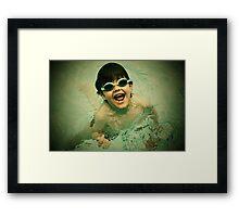 swimming in pool Framed Print