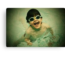 swimming in pool Canvas Print