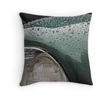 Green Raindrops Throw Pillow