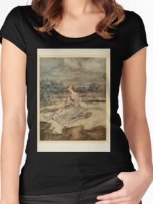English Fairy Tales by Flora Annie Webster Steel art Arthur Rackham 1922 0371 She Sat and Plaited an Overall and Cap Women's Fitted Scoop T-Shirt