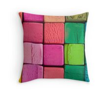 colored cubes Throw Pillow
