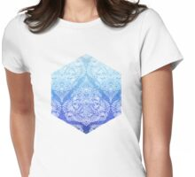 Out of the Blue - White Lace Doodle in Ombre Aqua and Cobalt Womens Fitted T-Shirt