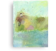 Red Admirals flying over Pink Rock cottage Canvas Print