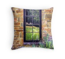 Side window, Lavender Fields Cottage Throw Pillow