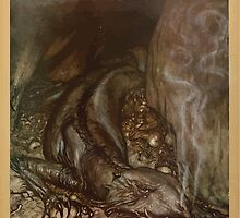 Siegfried & The Twilight of the Gods by Richard Wagner art Arthur Rackham 1911 0059 In Dragon Form Fafner Now Watches the Hoard by wetdryvac