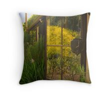 Reflections in the back window at Lavender Fields Throw Pillow