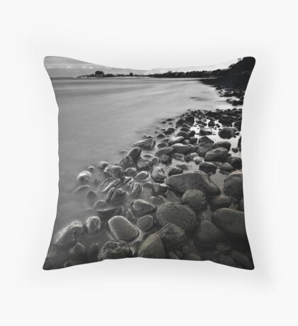 West Inlet B&W with clouds Throw Pillow