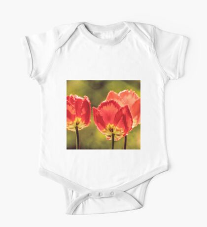 Glowing Red Tulips One Piece - Short Sleeve