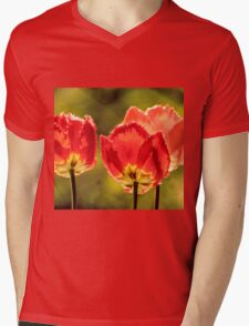 Glowing Red Tulips Mens V-Neck T-Shirt
