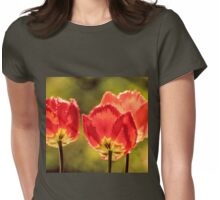 Glowing Red Tulips Womens Fitted T-Shirt