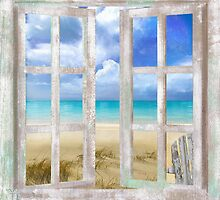 Caribbean Cottage tropical beach house coastal art by Glimmersmith