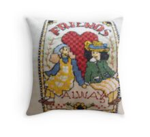 Friends in Cross Stitch Throw Pillow