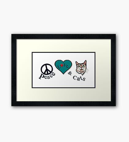 Peace Love & Cats Framed Print