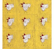 Nine chickens on antique yellow Photographic Print