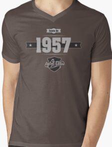 Born in 1957 (Light&Darkgrey) Mens V-Neck T-Shirt