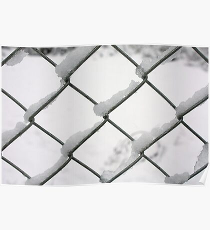 snow on wire fence Poster