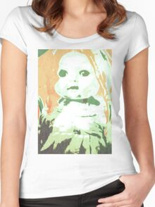 Scary Doll Screenprint #3 Women's Fitted Scoop T-Shirt